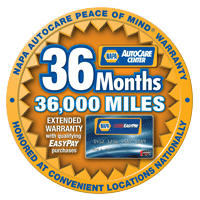 Napa Peace of Mind 36 mo 36,000 mile Warranty